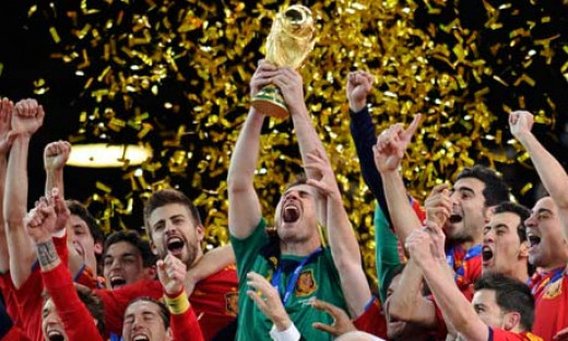 The Spanish team celebrating their 2010 World Cup win.