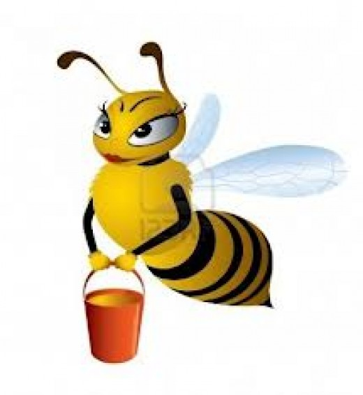 A cute little bee bringing honey in a bucket.