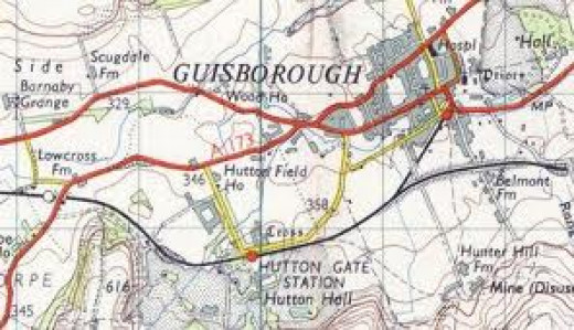The railways around Guisborough as they became after North Eastern Railway rationalisation in the later 19th Century