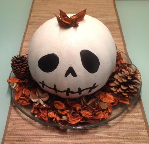 Regular pumpkin painted white and decorated.