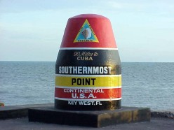 The southern most tip of the continental U.S. at Key West, Florida.