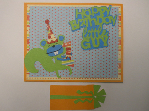 Happy First Birthday Boy Card and Matching Gift Tag