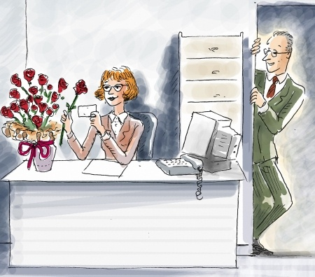 This picture displays A boss who is  peeking around the corner observing the reaction on the face of his female employee as she admires the flowers that he sent her.