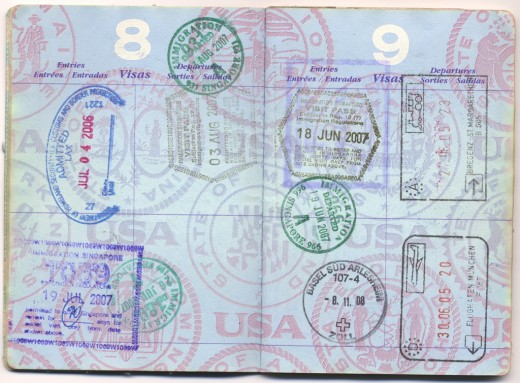 Picture of a stamped passport.
