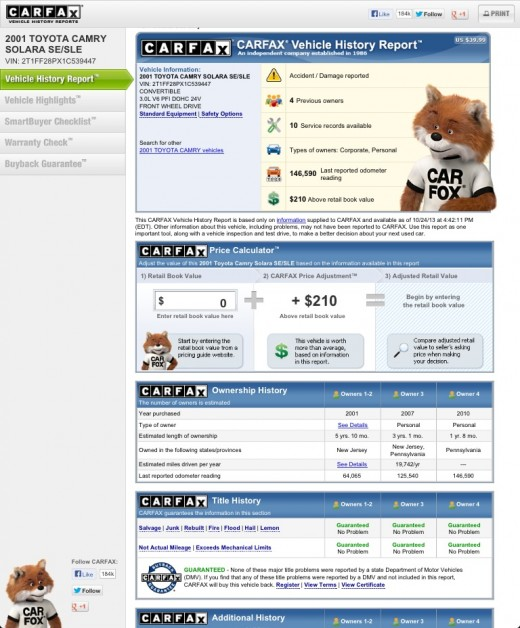 Example version of a CarFax vehicle report available on their website.