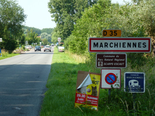 Marchiennes, Nord; town limit sign