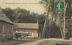 Photochrome of Croix-ou-Pile crossroads, in Marchiennes Forest, Nord, France, between circa 1920 and circa 1930