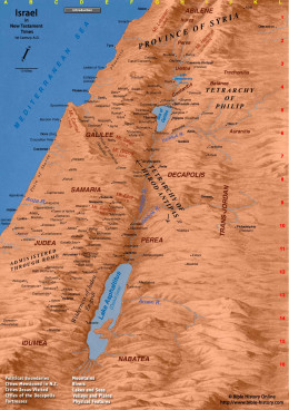 Map of Ancient Israel in Bible times.