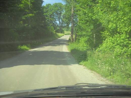 Back River Road just before Royalton Bed and Breakfast. The green leaves of summer fill the roadside resembling a lush rainforest. Summer is a wonderful time to visit Vermont.