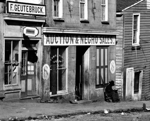 Slave market in in Atlanta, Georgia (1864)