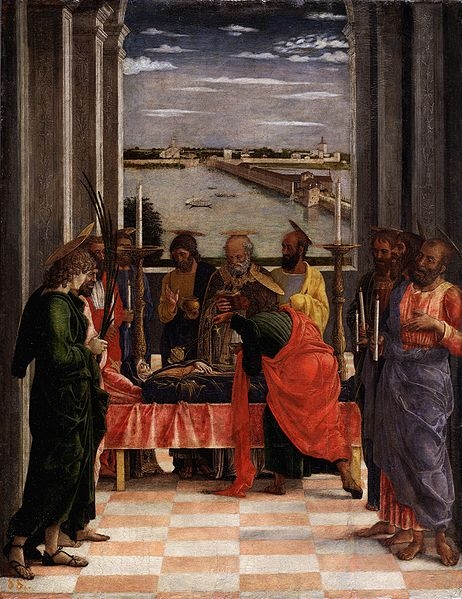 The Death of the Virgin (1462-1464, Prado) is one of the canvas painted for the chapel of the San Giorgio Castle. From the window  it is visible the lake with the bridge of San Giorgio.