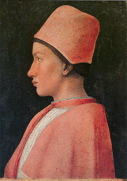 Portrait of Francesco Gonzaga (1460-1461, Naples Museum of Capodimonte) - Francesco is here a boy of 17 years, Mantegna captures with a great naturality the essential features  of his face (the protruding cheekbones, the lips).