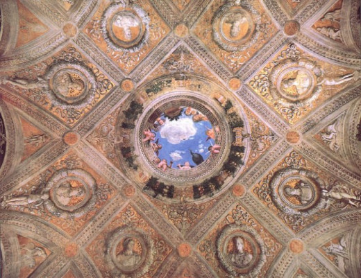 The ceiling of the Camera degli Sposi with the complex architecture painted by Mantegna which simulates a dome.