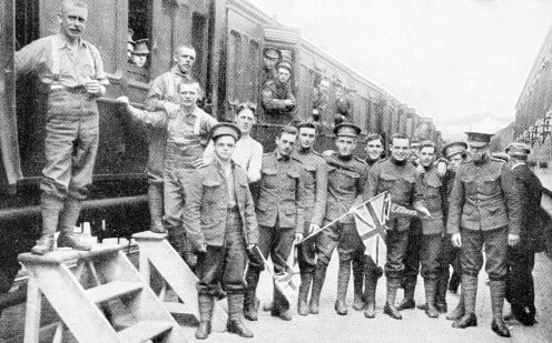 Recruiting in Canada showed no falling-off during 1915, and a continuous stream of ardent patriots flowed into the depots of the Dominion as fast as trained men embarked for the Mother Country.