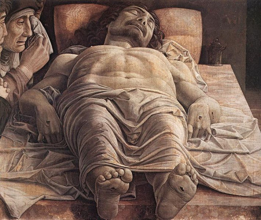 Dead Christ (1480? , Milan Gallery of Brera). The date of this famous painting is uncertain, but it shows some analogies with the St Sebastian of the Louvre (1482-1485).