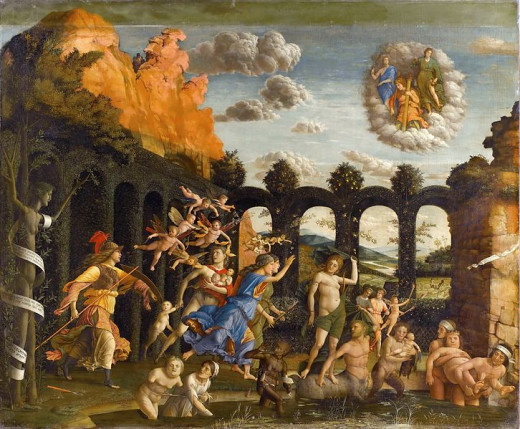 Triumph of the Virtues (1499 - 1502, Louvre). Pallas, on the left side of the painting, is expelling the vices from the garden of the Virtue: it is the second of the two canvas painted by Mantegna for the study of Isabella d'Este.