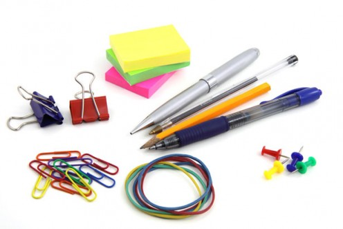 This is a view of office supplies, playfully arranged.