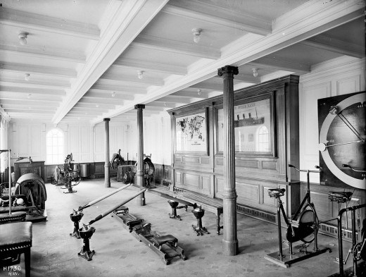 The first class gymnasium and the only one onboard Titanic.