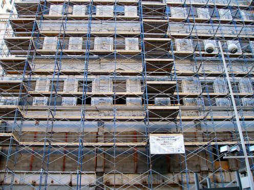 Construction scaffolding in Cincinnati, Ohio. Bioengineered scaffolding is used for the human body to support new organs that repace cancer-damaged ones..