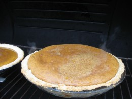 The pie will set when removed from the heat source.