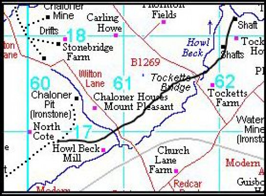 The network of the Chaloner Mine tramways and railway links to the Cleveland Railway around Tocketts and north-west Guisborough