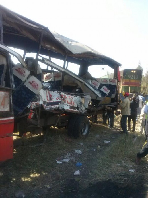 Wreckage of Bus involved in #MutindwaTrainCrash Umoja