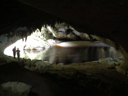 from the floor of the cave