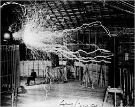 Tesla conducting an experiment.