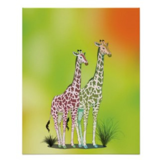 I used Photoshop to create a background and add some unusual colour to these giraffes which were in the public domain.