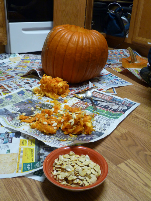 From pumpkin, to guts, to seeds, to make a delicious and healthy snack.