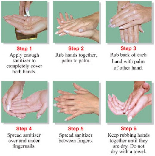 The correct procedure for utilizing hand sanitizer