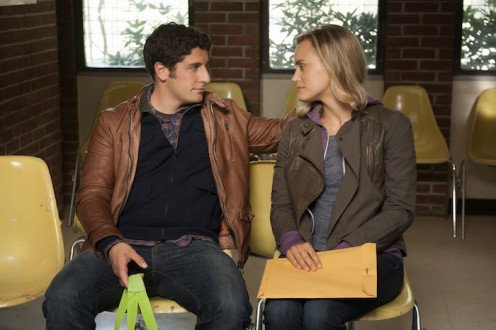 Taylor Schilling as Piper Chapman and Jason Biggs as Larry Bloom.