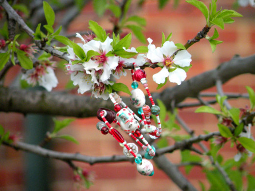 Choose a theme to make your beaded Spangle - I chose red, white and turquoise beads as I was inspired by the cherry blossoms outside and had lots of turquoise beads to use up!
