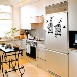 Removable wall decals can also be used on other surfaces for embellishment, like fridges and cupboards.