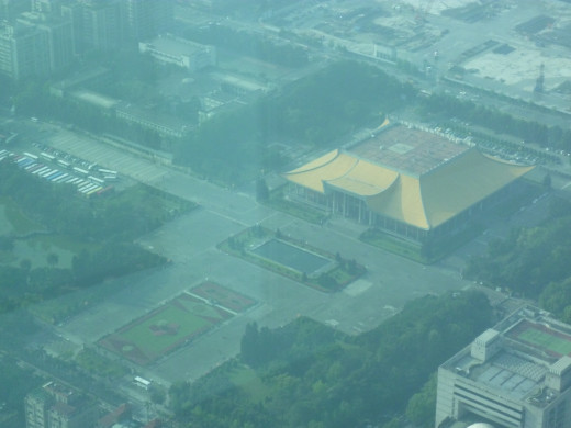 The view on Sun Yat-Sen memorial hall from the Taipei 101