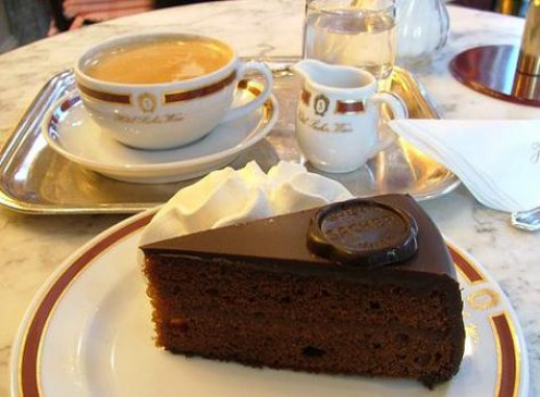 The famed Sacher Torte and cup of hot chocolate of Vienna, Austria, one of the great cities associated with chocolate today,