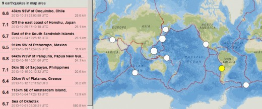 If there were a 7.3 magnitude earthquake in October (such a quake occurs about once per month on average) then October would have had exactly twice the normal of earthquakes for a month.  The 6.4 magnitude quake in Greece is larger per other sources.