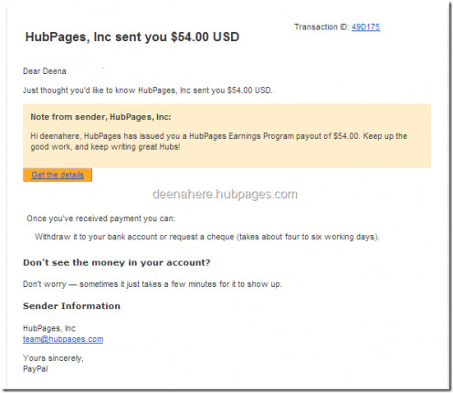 My first hubpages earning