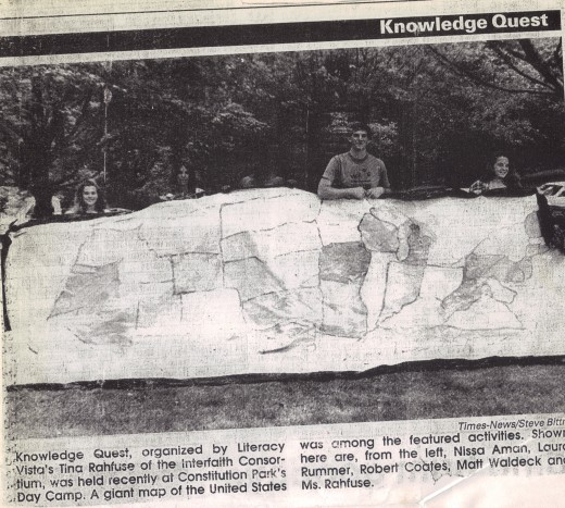 Map made by myself and VISTA co workers of the United  States.  We made the Cumberland Times!