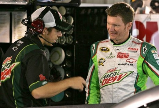 Earnhardt and crew chief Steve LeTarte share a garage with Johnson- the trophies, however, are another matter