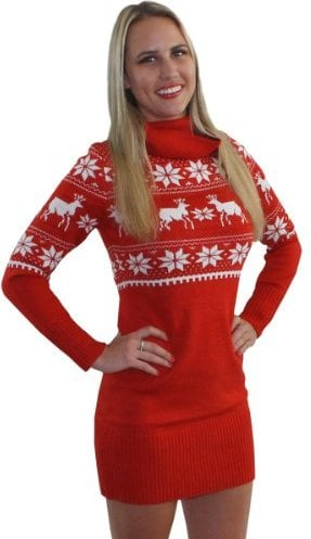 Fair Isle Reindeer Sweater Dress