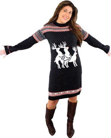 Reindeer Threesome Naughty Sweater Dress