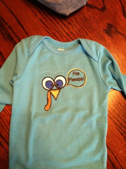 A cute Thanksgiving onesie for a little guy.
