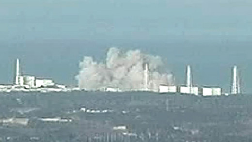 The Fukushima nuclear power plant explodes.
