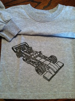 Located lower right side of the shirt, this was a simple design to trace, drawing is another story!