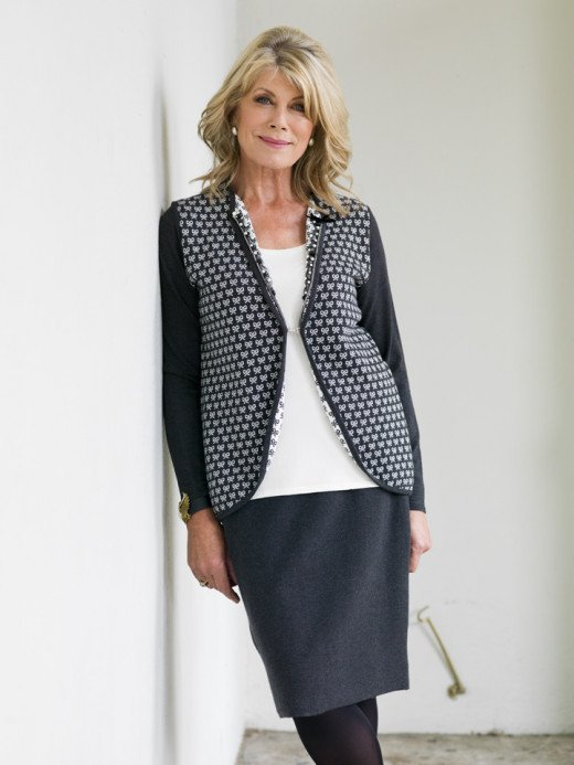 Barbara in the 2013 collection, a gray knit straight skirt was €79.95 and one-piece cream vest and cardigan and jewelled neckline was€119.95.
