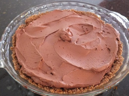 Pour in the chocolate tofu mixture and refrigerate for 1 hour before serving. This is the pecan crust version.