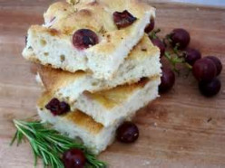 Focaccia with Grapes and Fresh Rosemary