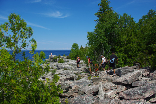 The trail becomes rocky as it passes through the Bruce Peninsula National Park.