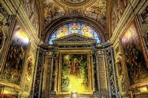 Ancient interior European church decor